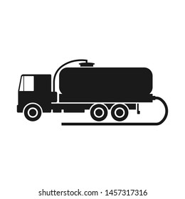 Vacuum truck. Black silhouette of a truck. Side view. Vector drawing. Isolated object on white background. Isolate. Cesspool.
