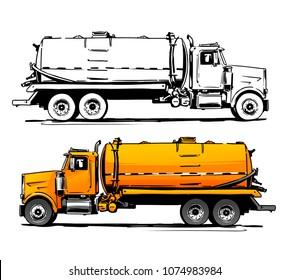 Vacuum truck side view. Sketch