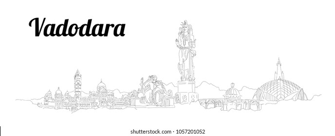 Vadodara city hand drawing panoramic sketching style illustration