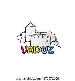 Vaduz beautiful sketched icon, famous hand-drawn landmark, city name lettering, vector illustration