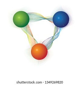 Valence quarks connected by string like gluons forming protons/neutrons (called hadrons, the H in LHC). The charges of quarks under strong nuclear force is labelled by colors red blue and green.