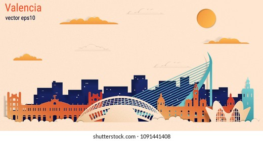 Valencia city colorful paper cut style, vector stock illustration. Cityscape with all famous buildings. Skyline Valencia city composition for design