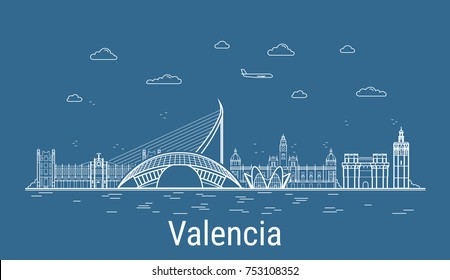 Valencia city, Line Art Vector illustration with all famous buildings. Linear Banner with Showplace. Composition of Modern cityscape. Valencia buildings set