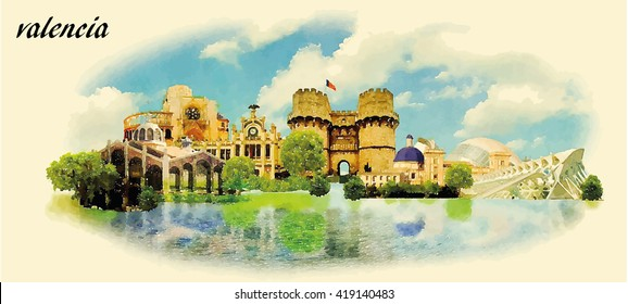 VALENCIA city water color panoramic vector illustration