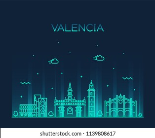 Valencia skyline, Italy. Trendy vector illustration, linear style