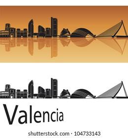 Valencia skyline in orange background in editable vector file