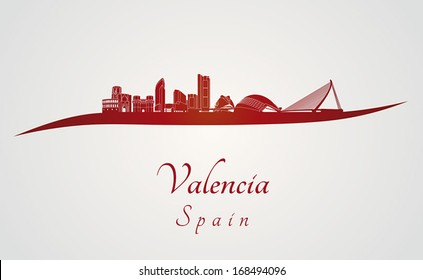 Valencia skyline in red and gray background in editable vector file