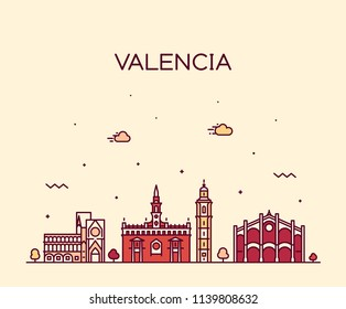 Valencia skyline, Spain. Trendy vector illustration, linear style