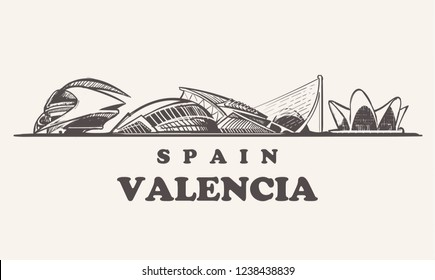 Valencia skyline, Spain vintage vector illustration,City of the Arts and Sciences hand drawn buildings of Valencia on white background.