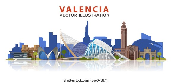 Valencia skyline. Vector illustration