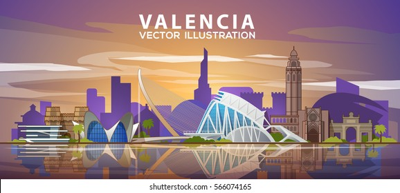 Valencia skyline. Vector illustration. Spain