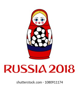 Valencia, Spain - April 15, 2018: Russian dolls - matryoshka. Isolated on white. FIFA World Cup 2018 in Russia. Vector illustration..