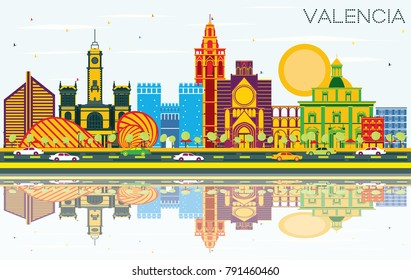 Valencia Spain City Skyline with Color Buildings, Blue Sky and Reflections. Vector Illustration. Business Travel and Tourism Concept with Historic Architecture. Valencia Cityscape with Landmarks.