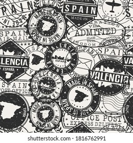 Valencia, Spain Set of Stamps. Travel Passport Stamps Pattern. Made In Product. Design Seals in Old Style Insignia Seamless. Icon Clip Art Vector Collection.