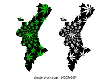 Valencian Community (Kingdom of Spain, Autonomous community) map is designed cannabis leaf green and black, Valencian Country map made of marijuana (marihuana,THC) foliage,