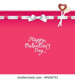 Valentine background decorated with ribbon and candies