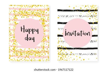 Valentine Background. Engagement Magazine Set. Golden Premium Spray. White Scatter Brochure. Rose Element. Pink Gatsby Flyer. Stripe Glittery Print. Stripe Valentine Background