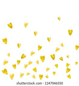 Valentine background with gold glitter hearts. February 14th day. Vector confetti for valentine background template. Grunge hand drawn texture. Love theme for voucher, special business ad, banner.
