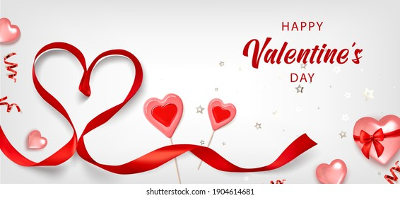 Valentine background with red heart, caramel, red ribbon and gold serpentine. Greeting card, invitation, flyer. 3d realistic vector.