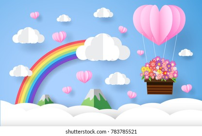 valentine  , beautiful flower , paper art style, heart in the sky