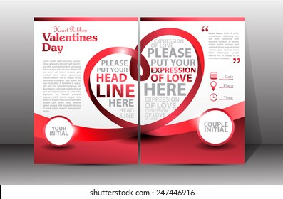 Valentine Brochure, flyer, card, and book. Vector Illustration