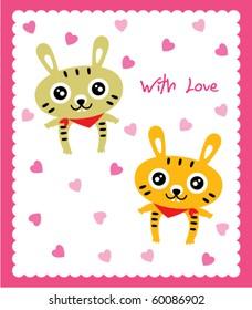 valentine bunny couple doodle