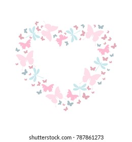 Valentine, butterfly heart in pastel colors. Vector illustration, isolated, on white background. Frame for your text.