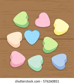 Valentine candy hearts on a wooden plank, eps10 vector
