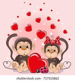 Valentine Card With Cute Cartoon Lovers Monkeys