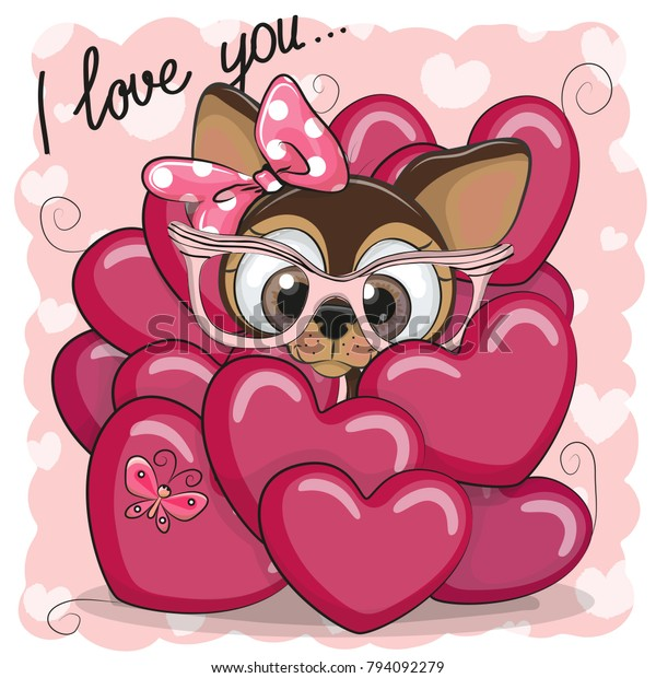 Valentine Card Cute Cartoon Puppy Girl庫存向量圖 免版稅