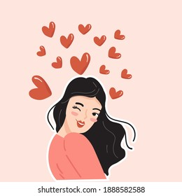 valentine card design with cute woman