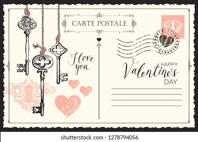 Valentine card in form of postcard with keys, keyhole and red hearts. Romantic vector card in vintage style with place for text and with handwritten inscriptions I love you and Happy Valentines day