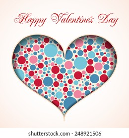 Valentine card with heart made from many color circles
