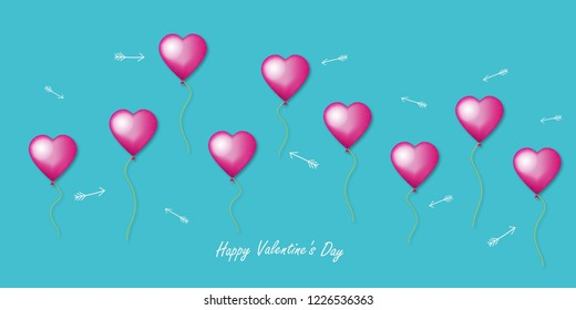 Valentine card with hearts collage. 3d vector. Wedding, anniversary, birthday, Valentine's day, party design for banner, poster, card, invitation, brochure, flyer.