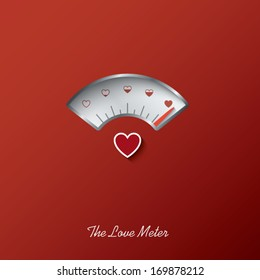 Valentine card with love gauge concept design on red background suitable for cards, postcards, promotion, etc. Eps10 vector illustration