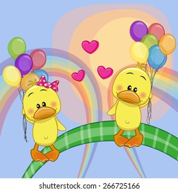 Valentine card with Lovers Ducks flying on balloons