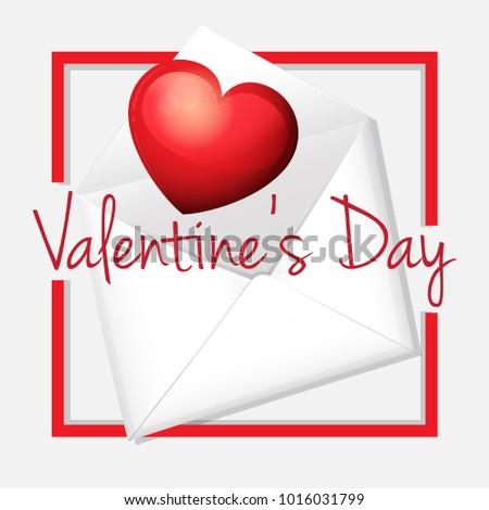 valentine card template heart envelope illustration stock vector