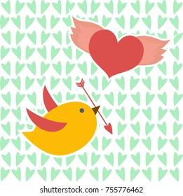 Valentine card with yellow bird and flying heart on green hearts background