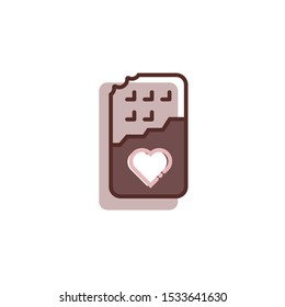 valentine Chocolate Icon, valentine day icon, Chocolate bar illustration. Sweets flat line icon, candy shop logo. Valentines day present sign.