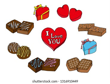 Valentine chocolate illustration set