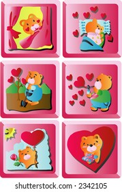 Valentine Clip Art Icon (Set 2, 6 icons) (Vector)