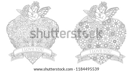 Valentine Coloring Pages Coloring Book Adults Stock Vector Royalty