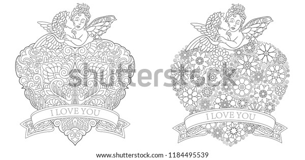 Valentine Coloring Pages Coloring Book Adults Stock Vector ...
