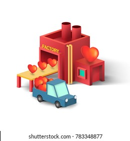Valentine concept , low poly isometric Vector illustration of factory with heart and relevant pick-up car on white background. love factory idea for valentine's day.