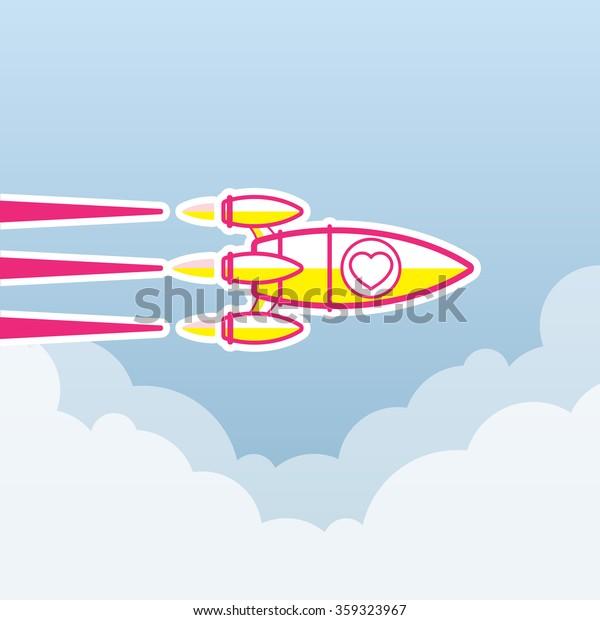 Valentine concept, Rocket , transportation vehicles, Flat style vector