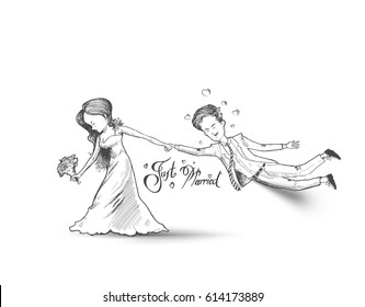 Valentine couple Wedding day , Just married - Romantic relationship lover, Hand Drawn Sketch Vector illustration.