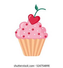 Valentine cupcake icon with heart shaped cherry in flat style isolated on white background. Love concept. Vector illustration.