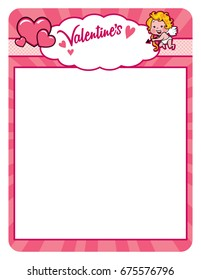 Valentine cupid frame with hearts