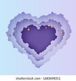 Valentine cut out 3d background with violet blue gradient cloudy landscape papercut art. Night sky clouds heart frame with gold stars on rope in paper cut style. Vector Valentines card. Lovely gift