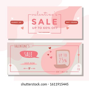 Valentine cute promotion banner template